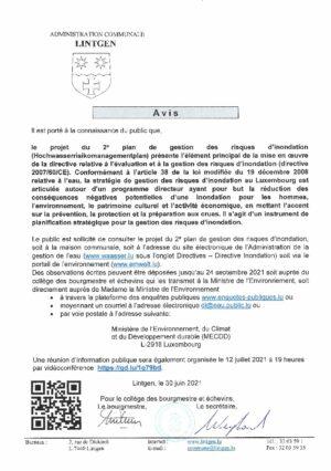 AVIS - Projet du 2e plan de gestion des risques d'inondation