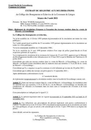 RÈGL. DE CIRCULATION - 117A-203 rte de Mersch à Gosseldange - 15.9.-15.11.2021