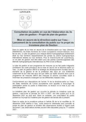 Consultation public - Élaboration du 3e plan de gestion - Mise en oeuvre de la directive-cadre sur l'eau