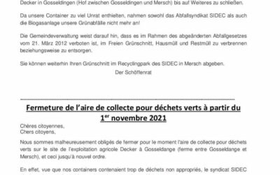 Fermeture de l'aire de collecte pour déchets verts (ferme Decker à Gosseldange) à partir du 1er novembre 2021