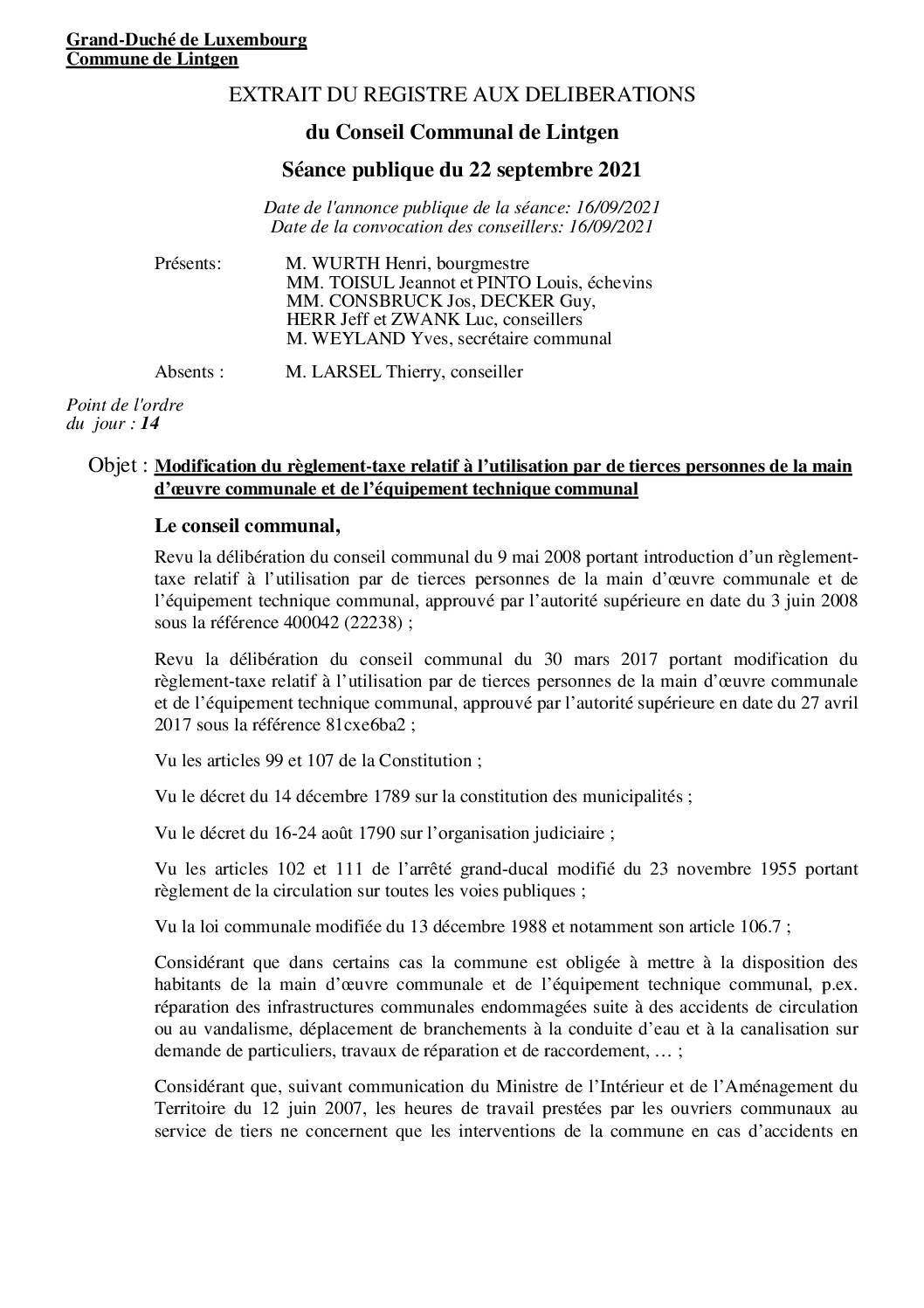 Règlement-taxe relatif à l'utilisation par de tierces personnes de la main d'oeuvre communale et de l'équipement technique communal