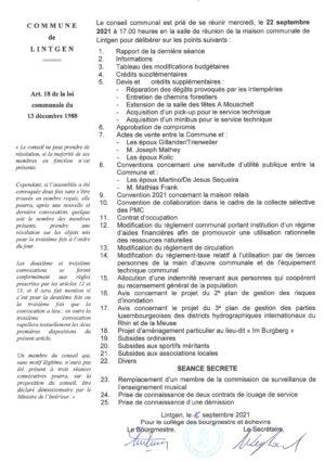 Prochaine séance du conseil communal - 22/9/2021 à 17.00h